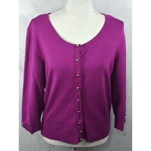 WHBM Cardigan Snap Front Purple Size Large